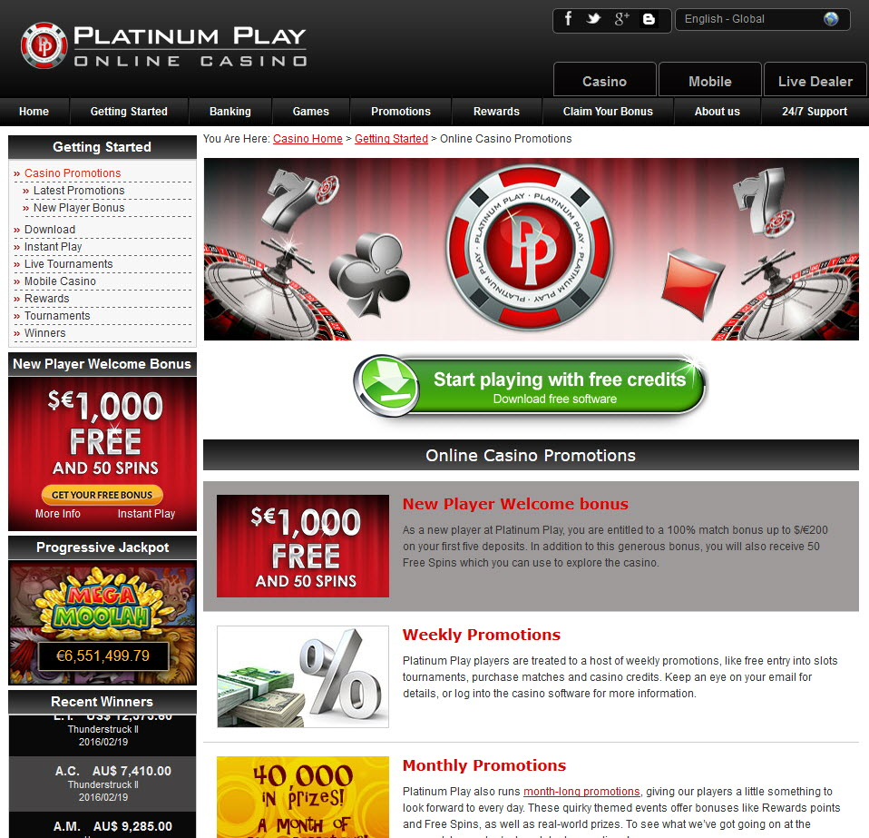 platinum play casino 10 free