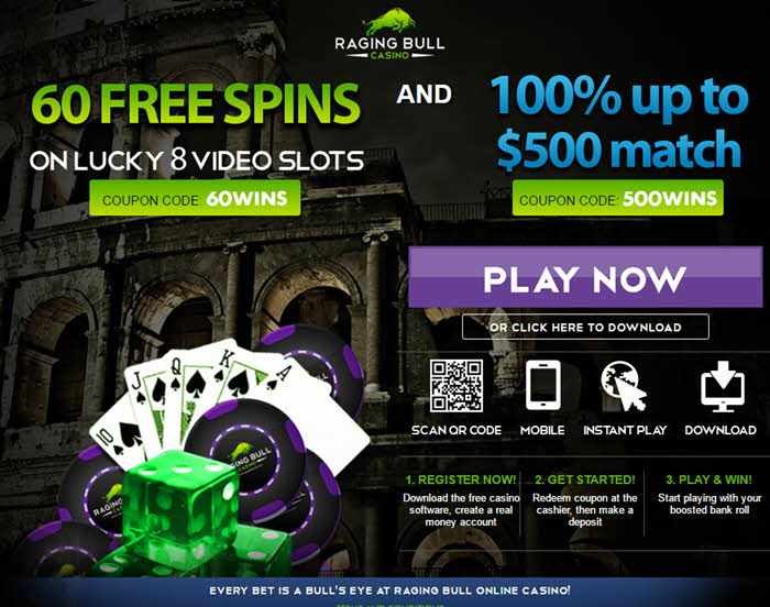 ragingbull casino free spins no deposit match bonus up to $500