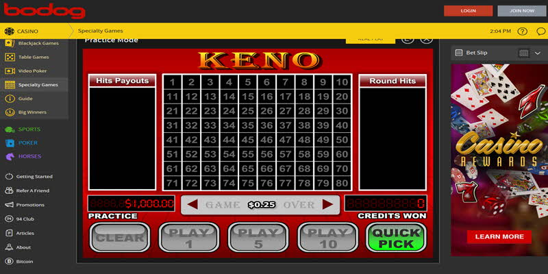 Keno Winner Casino Bodog Amazing Payout Incredible Prizes Casino Bodog