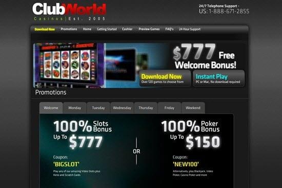 Club World Casino No Deposit Codes
