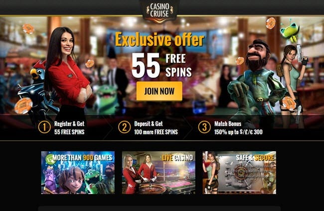 casino cruise exclusive bonus 55freespins