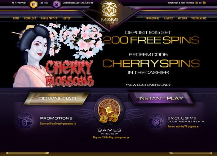 miami club casino cherry blossoms slot promo codes
