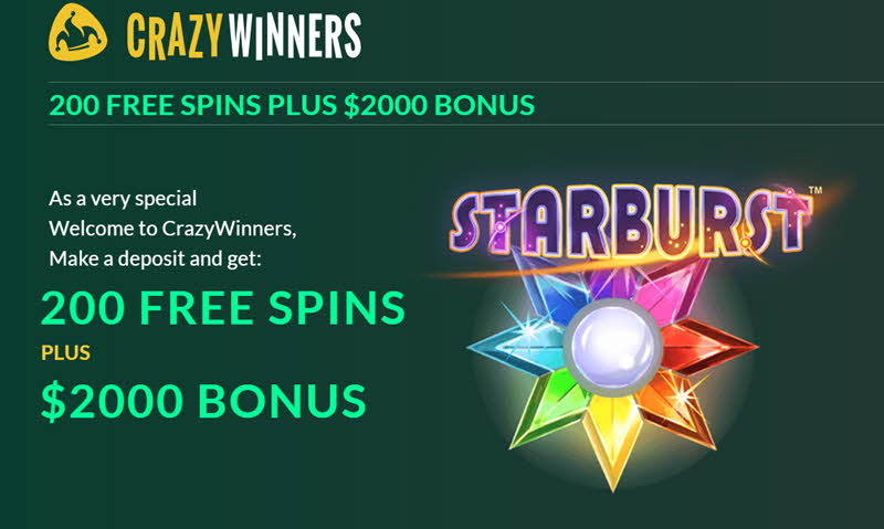 Crazy winners bonus 200 free spins plus $2000