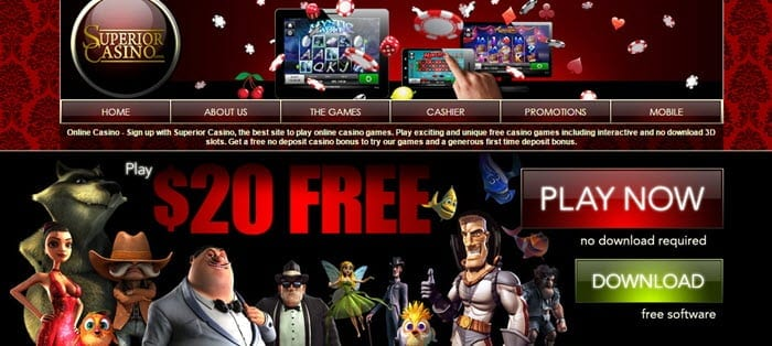 superior casino $20 free welcome bonus