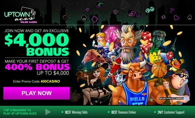 up town aces casino exclusive bonus $4000