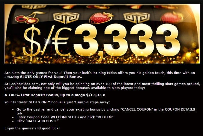 casino midas bonus slots only