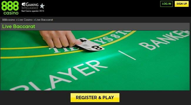 baccarat live casino 888