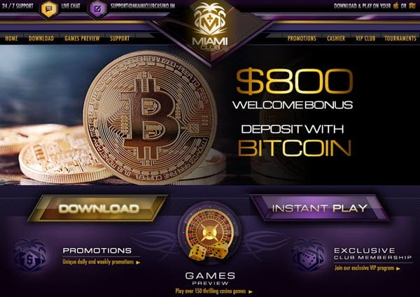 bitcoin bonus miami club casino