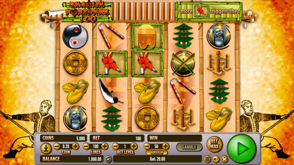 Shaolin Fortunes 100 No Download Slot Game