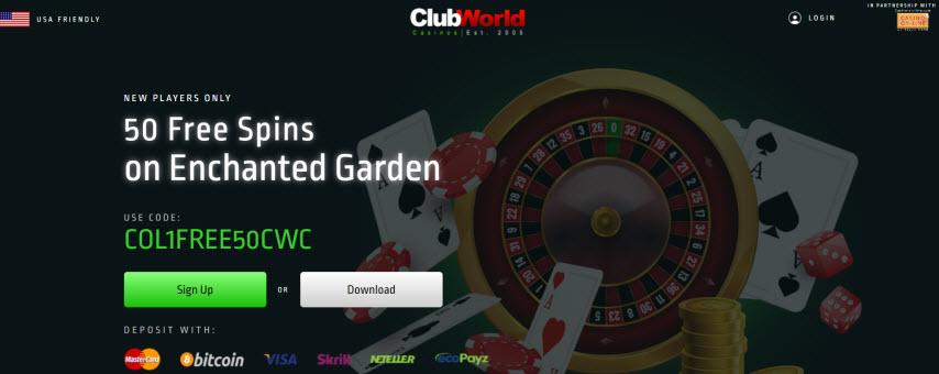 Club World Casino No Deposit Bonus Codes 2020 50 Free Spins