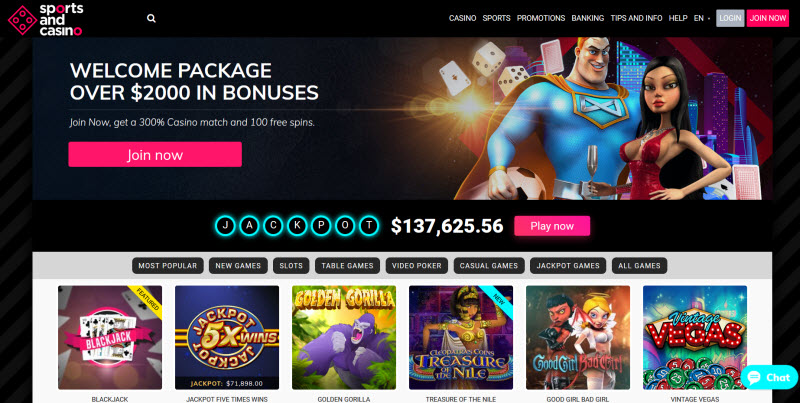 Sports and Casino Review + No Deposit Bonus > 50 Free Spins