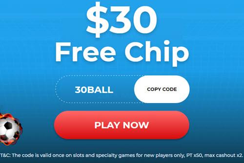 30 Free Chips no Deposit Bonus